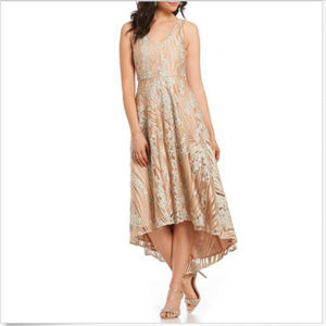 BELLE BADGLEY MISCHKA AVA SEQUIN HIGH LOW DRESS